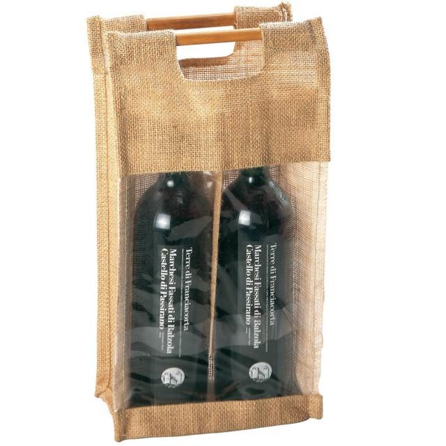 Borsa portabottiglie, con finestra trasparente e manici in bamboo (2 bottiglie)