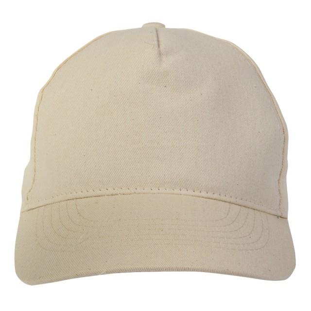 Cappellino Extra lusso a 5 pannelli in cotone, con visiera di 2 mm di spessore e anellini ricamati. Regolazione velcro