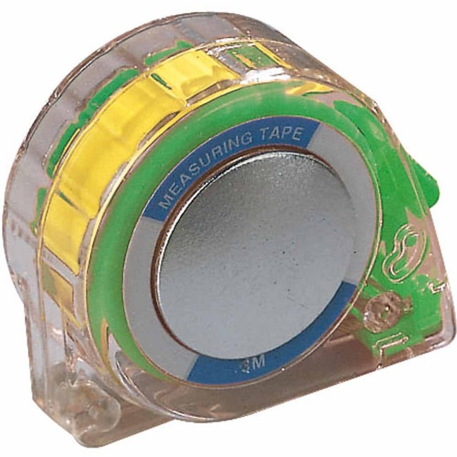Flessometro da 3 metri, in plastica trasparente, con blocco del nastro, riavvolgimento automatico, applicabile alla cintura