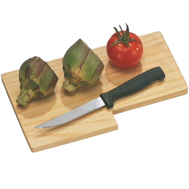 Tagliere piccolo in legno, con coltello lama in acciaio