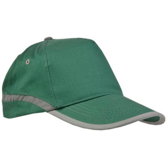 Cappellino Baseball ad alta visibilità, in cotone, a 5 pannelli, con bande e chiusura catarifrangenti. Regolazione velcro