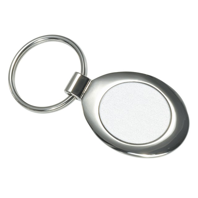 Portachiavi ovale, in metallo satinato e lucido (in scatoletta individuale)