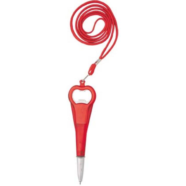Penna a sfera a rotazione, con apribottiglie e nastro da collo - refill jumbo