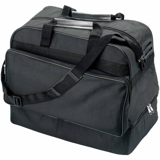 Borsone sport/viaggio, con tracolla, scomparto esterno, portascarpe (no vaschetta), maniglie in plastica e porta etichetta, in Polyester 600D