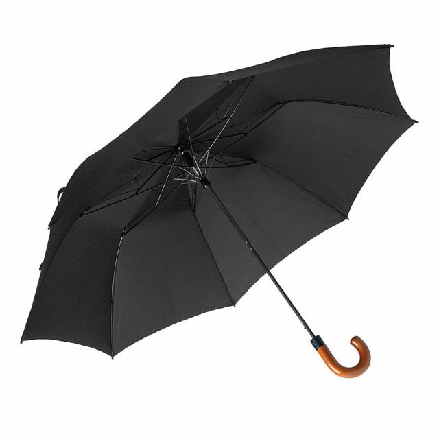 Mini ombrello automatico a pulsante, manico curvo in legno, inserito in guaina