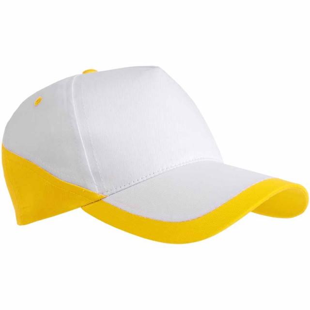 Cappellino in cotone, 5 pannelli, base bianca e bordi colorati. Regolazione velcro