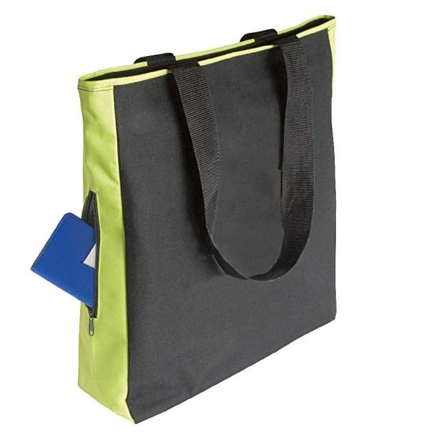 Borsa shopper, con tasca laterale e cerniera, in Polyester 600D