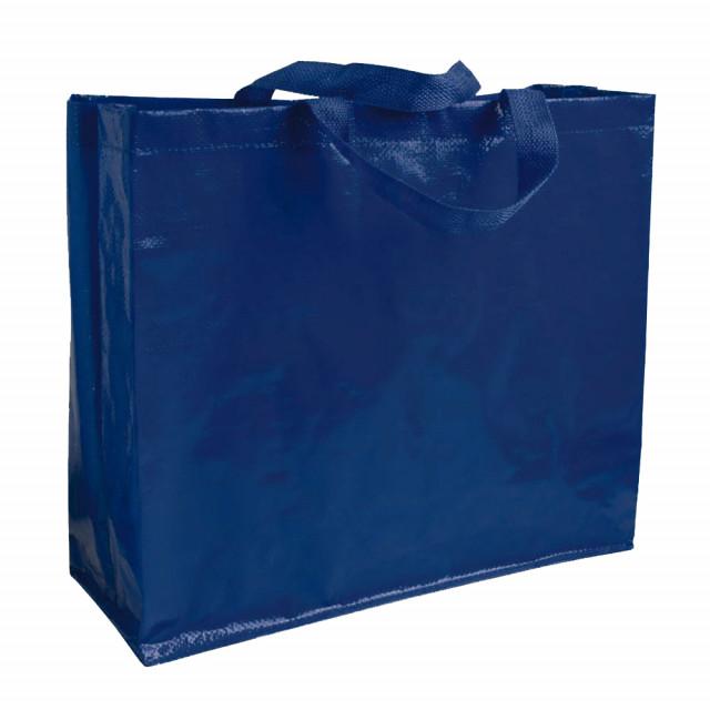 Shopper in PP laminato (120 g/m2), manici corti a nastro e soffietto