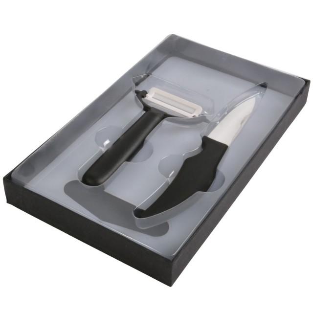 Set coltello + pelapatate in ceramica con tagliere