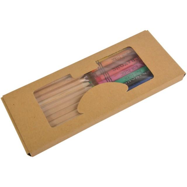 Set matite colorate (10) + pastelli (9) in box di cartone