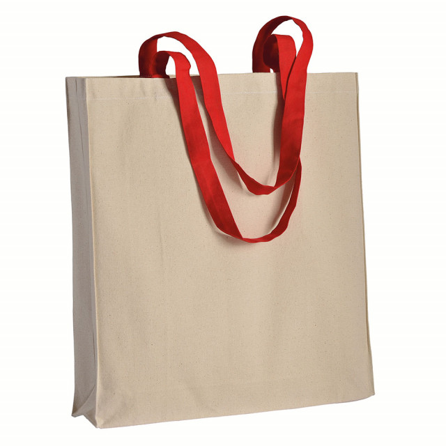 Shopper in cotone naturale (220 g/m2), manici lunghi colorati e soffietto