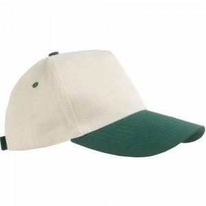 Cappellino in cotone naturale, 5 pannelli, visiera colorata. Regolazione velcro