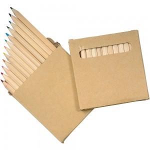 Set matite colorate (12), (h. 8,6 cm), sezione esagonale, in scatola di cartone