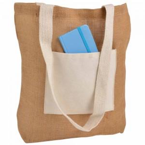 Borsa in Juta con manici e tasca esterna (18 x 15 cm) in cotone naturale 10 oz