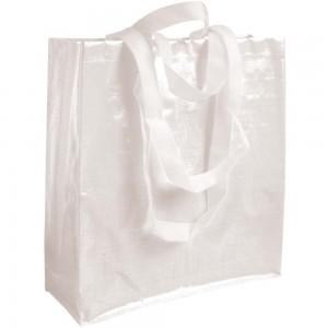 Shopper in PP laminato (120 g/m2), manici lunghi e corti a nastro e soffietto