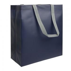 Shopper in TNT laminato termosaldato (100 g/m2), manici lunghi e soffietto