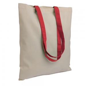Shopper in cotone naturale (135 g/m2), manici lunghi colorati
