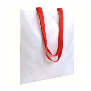 Shopper bianca in poliestere 210T, manici lunghi colorati (adatta per stampa a sublimazione)