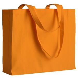 Shopper in cotone (200 g/m2), manici lunghi e soffietto
