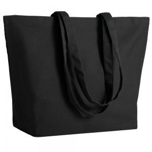 Shopper in cotone (280 g/m2), manici lunghi e soffietto alla base