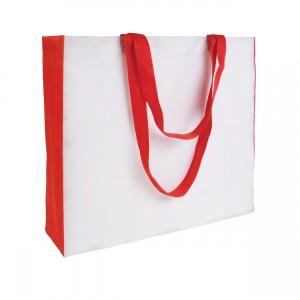 Shopper bianca in poliestere 210T, manici e soffietto colorati