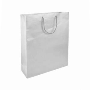 Sacchetto in carta laminata OPACA, manici in cordino e rinforzo alla base 25x18x7 cm