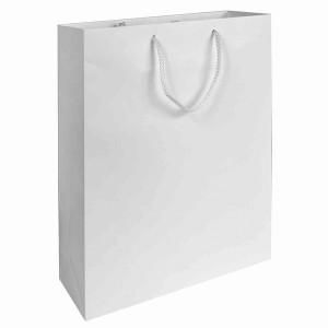 Sacchetto in carta laminata OPACA, manici in cordino e rinforzo alla base  22x10x29  cm