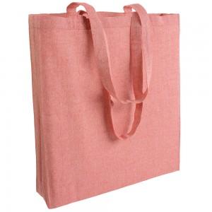 Shopper in cotone riciclato effetto melange, manici lunghi e soffietto  150g/m2