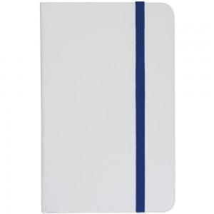 Mini quaderno bianco con elastico colorato, fogli a righe