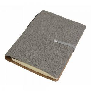 Block notes in PU, con penna in cartone e foglietti adesivi, chiusura a elastico