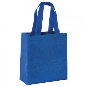 Shopper in TNT laminato con manici corti e soffietto