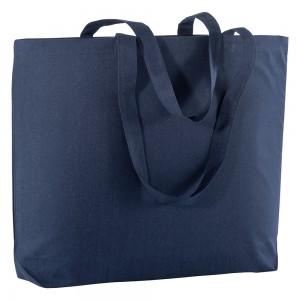 Shopper in cotone 135 gm2 con manici lunghi e soffietto alla base