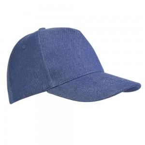 Cappellino 5 pannelli in cotone pesante effetto jeans, chiusura velcro