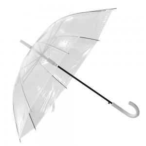 Ombrello automatico con fusto in metallo e manico curvo in plastica