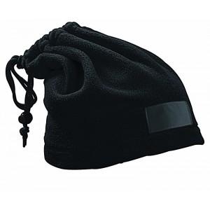 Fascia scalda-collo in pile, trasformabile in cappello con etichetta