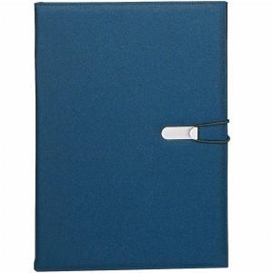 Cartella meeting in polyester, con 3 tasche interne, porta penna, targhetta metallica per personalizzazione e chiusura ad elastico