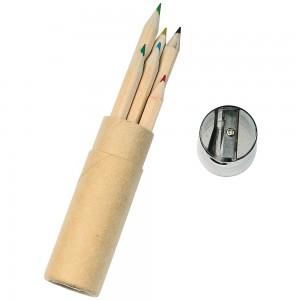Set matite colorate (6) (lung. 8,5 cm), sezione esagonale, in cilindro di cartone e plastica (con temperamatite incorporato)