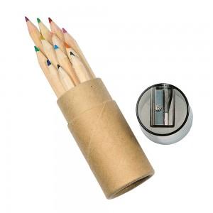 Set matite colorate (12) (lung. 8,5 cm), sezione esagonale, in cilindro di cartone e plastica (con temperamatite incorporato)