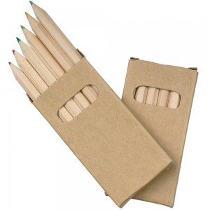 Set matite colorate (6), sezione esagonale, in scatola di cartone