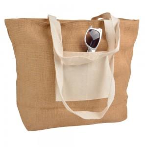 Borsa in Juta con chiusura lampo, manici e tasca esterna (18 x 15 cm) in cotone naturale 10 oz