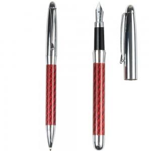 Set penna a sfera + stilografica in metallo, fusto in fibra di vetro