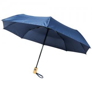 """Ombrello pieghevole Bo da 21"""" ad apertura/chiusura automatica in PET riciclato"""