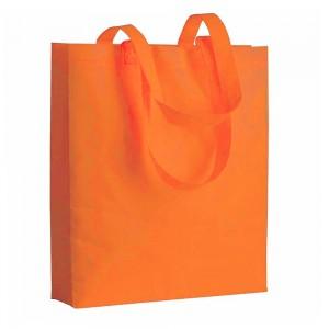 Shopper in TNT termosaldato (80 g/m2), manici lunghi e soffietto