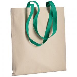Shopper in cotone naturale (220 g/m2), manici lunghi colorati