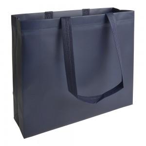 Shopper in TNT laminato, manici lunghi e soffietto