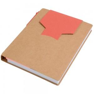 Block notes in carta riciclata, con penna in cartone e foglietti adesivi