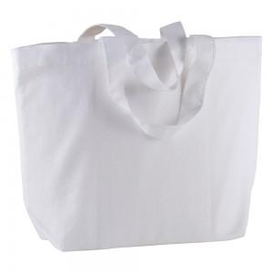 Shopper in cotone 120 gm2 con manici lunghi e soffietto alla base