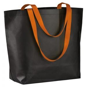 Shopper nera in TNT laminato con manici fluo e soffietto alla base