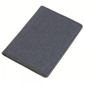 Porta passaporto in tessuto mélange. Protezione RFID: progettato per bloccare lettori RFID dalla scansione indesiderata delle carte di credito, carte di debito, informazioni bancarie, patenti di guid